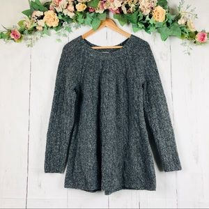 J. Jill Wool Blend Gray Cable Knit Sweater S